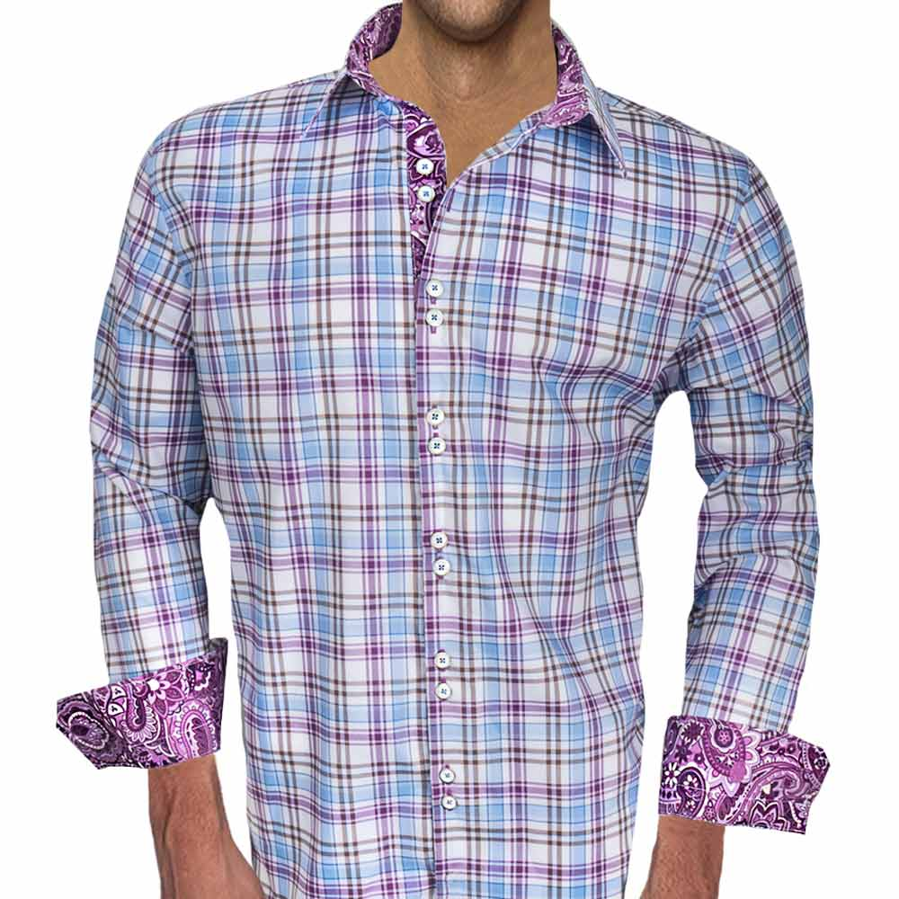 Purple Plaid Dress Shirt