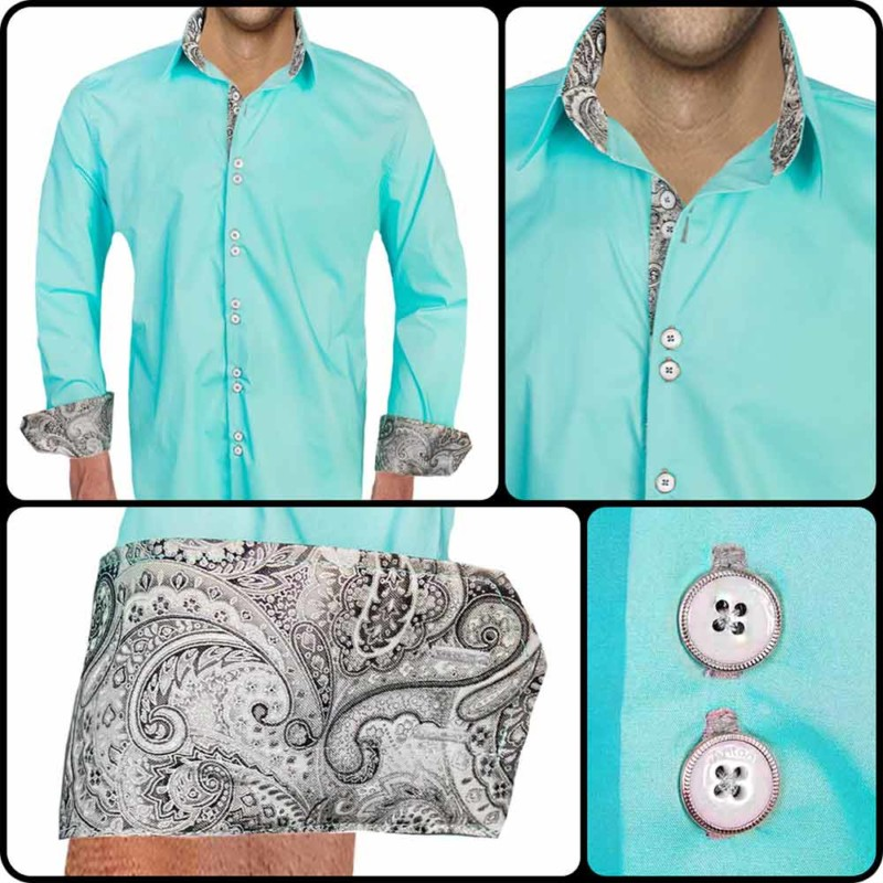 Turquoise-Black-Dress-Shirts