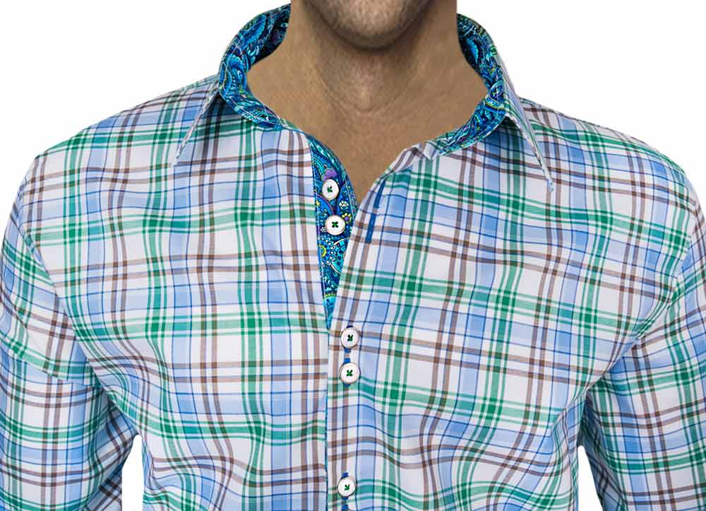 white-green-plaid-dress-shirts
