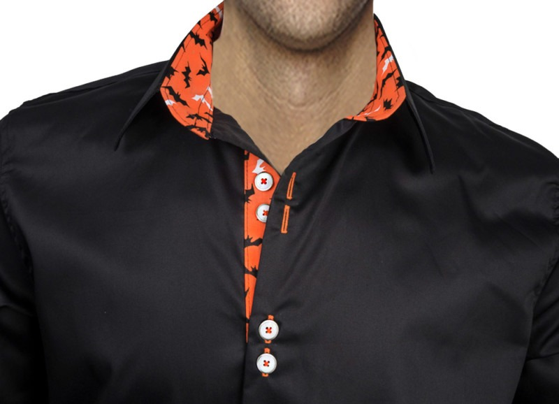 Black-with-Orange-Dress-Shirt
