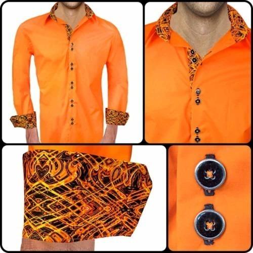 Mens-Orange-and-Black-Dress-Shirts