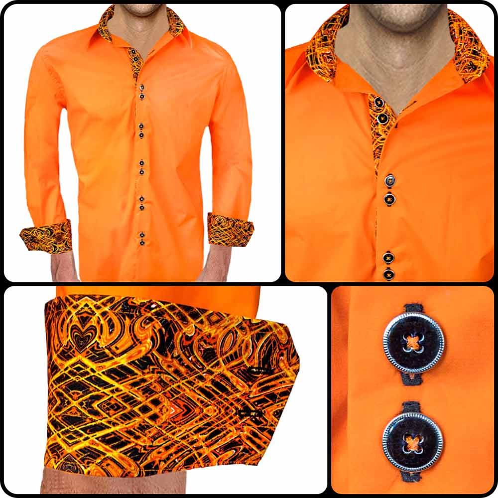 Mens-Orange-and-Black-Dress-Shirts