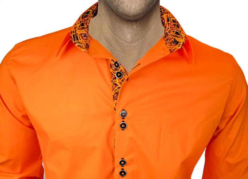 Orange-Dress-Shirts-with-Black-Trim