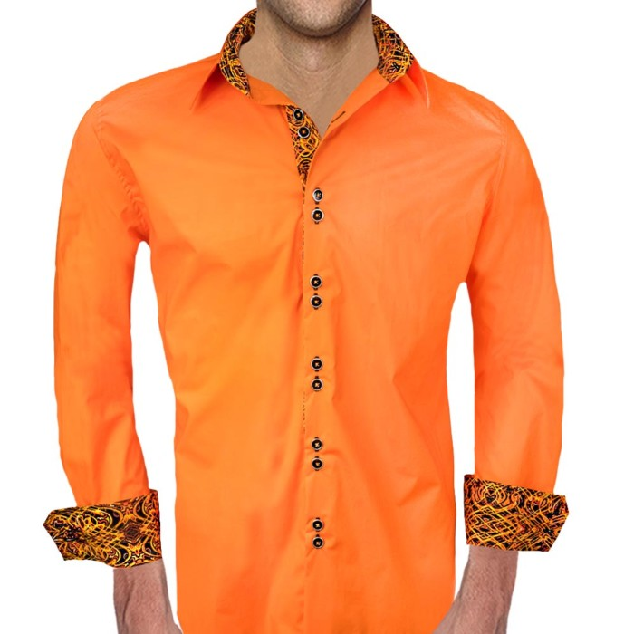 Orange-with-Black-Accent-Dress-Shirts