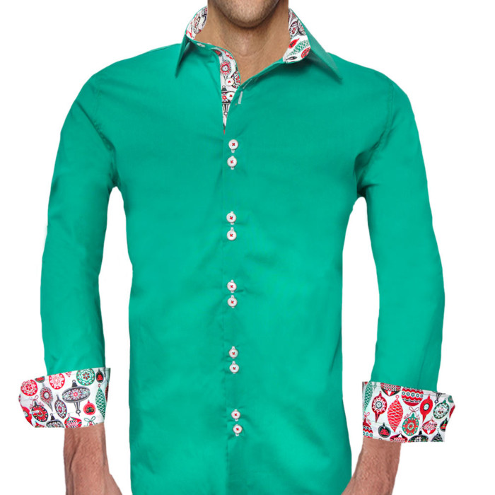 Mens-Green-Christmas-Accent-Dress-Shirts