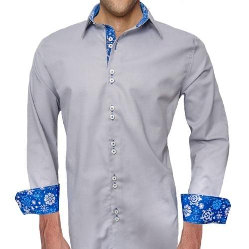 Snowflake-Accent-Mens-Dress-Shirts