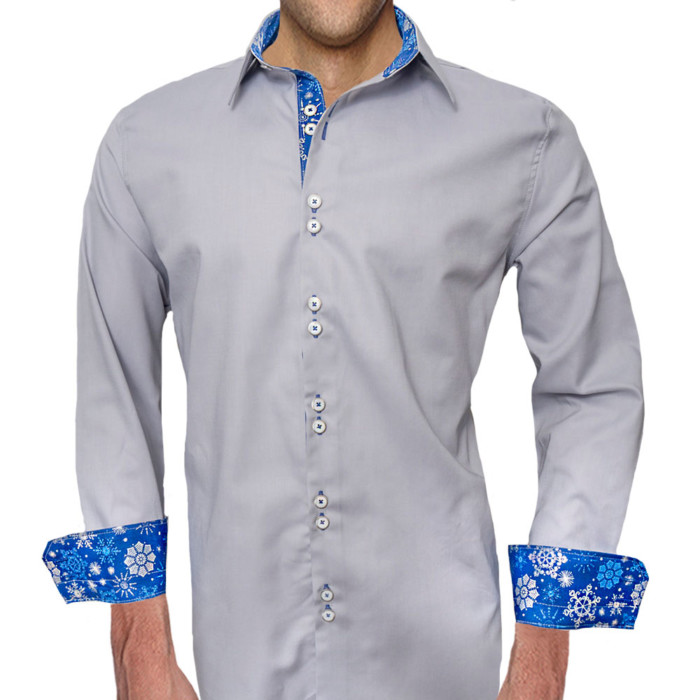 Snowflake-Accent-Mens-Dress-Shirts
