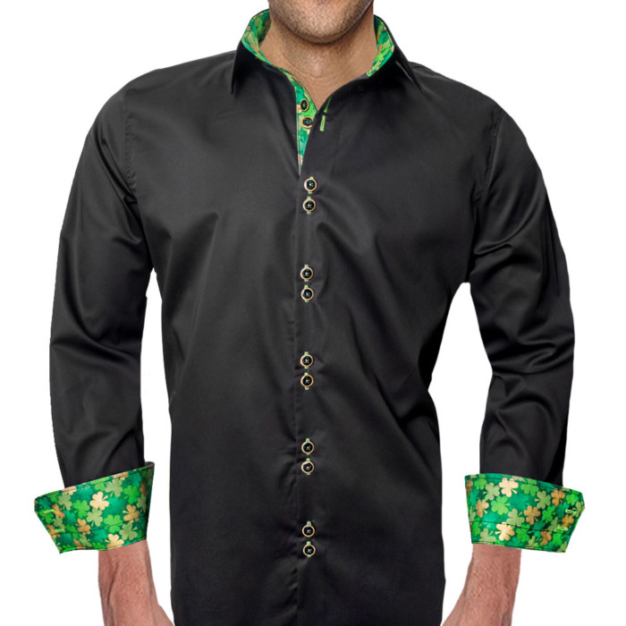 Black-with-Green-Accent-Dress-Shirts