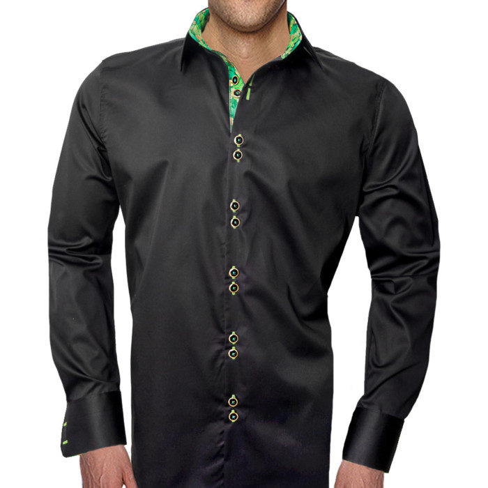 Black-with-Green-Dress-Shirts