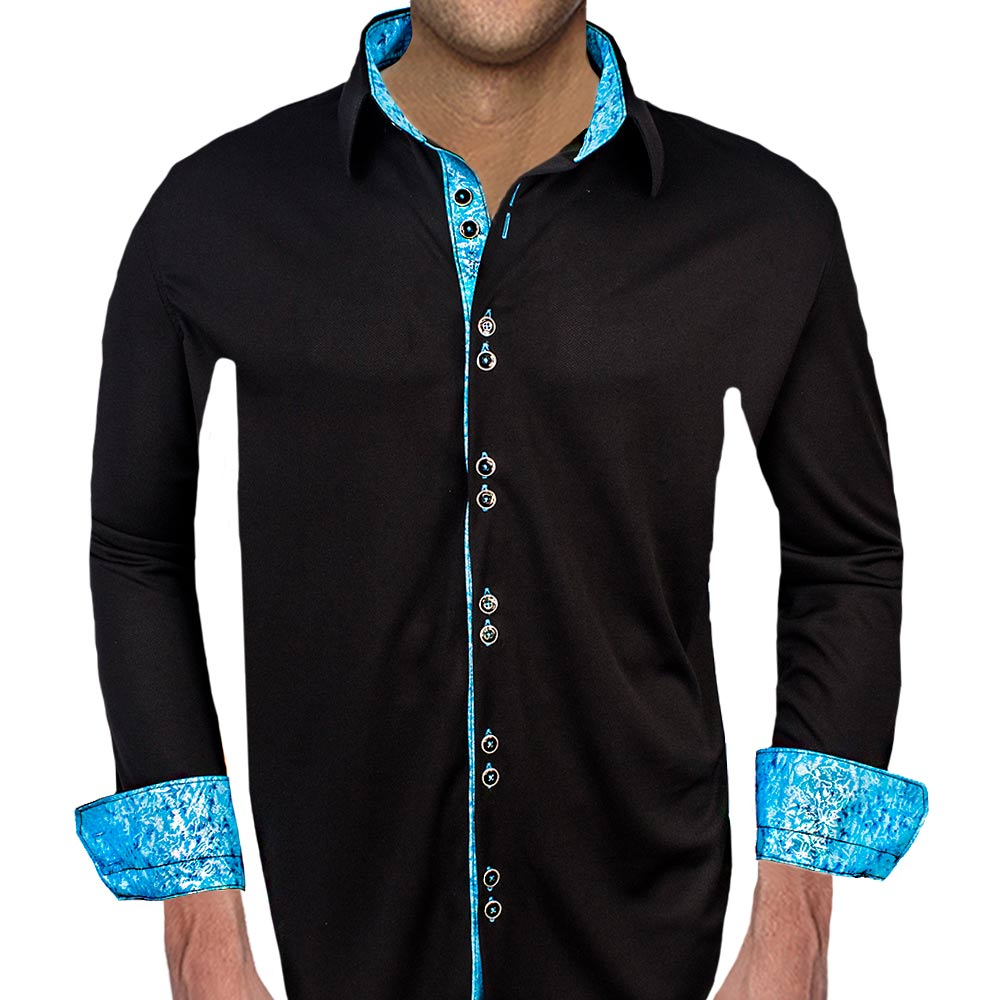 black with blue casual shirts