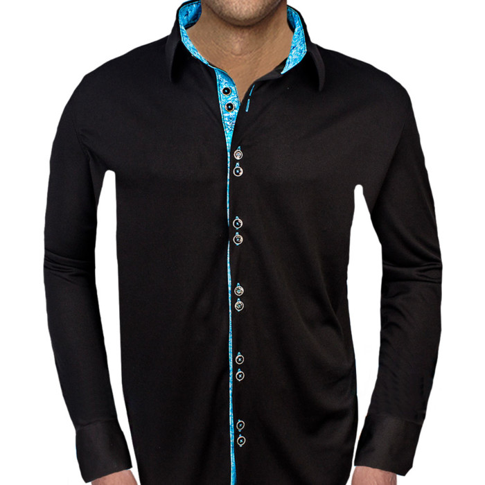 Black-with-Light-Blue-Accent-Dress-Shirts