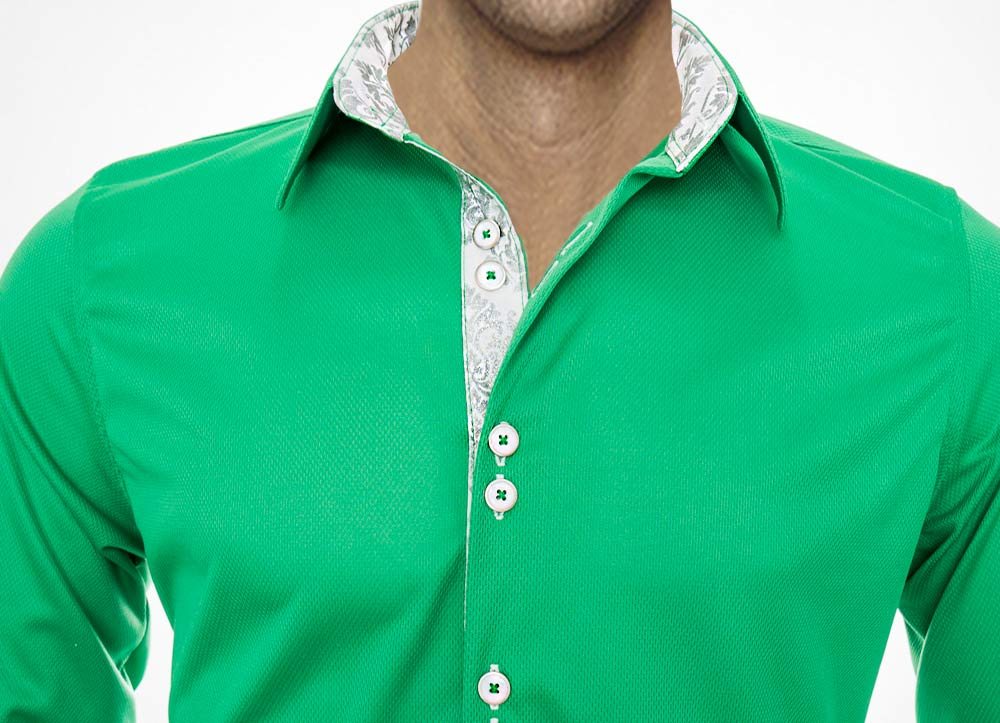 Green-with-White-Accent-Dress-Shirts