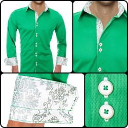 Green-with-White-Casual-Dress-Shirts