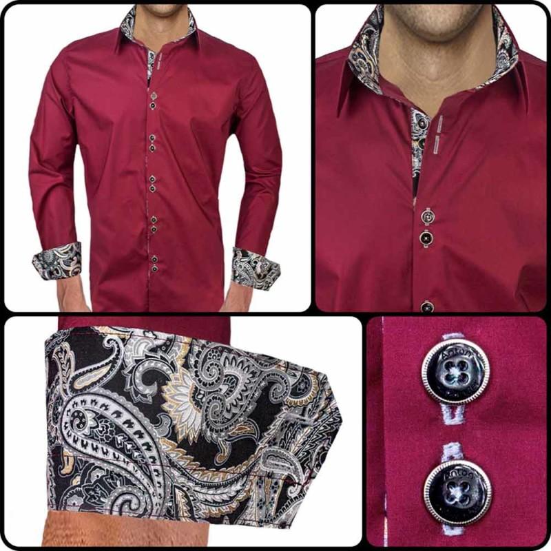 Maroon-Dress-Shirt-with-Black-Cuffs