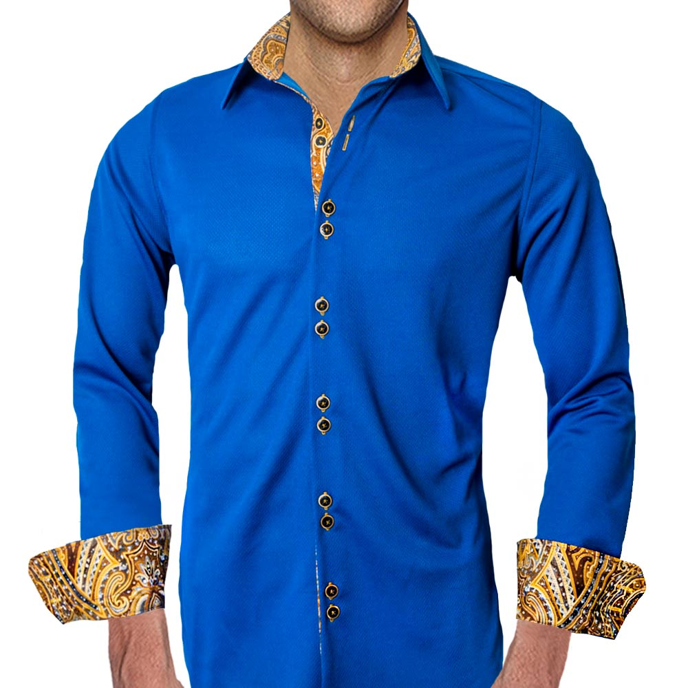 Navy Blue With Gold Dress Shirts