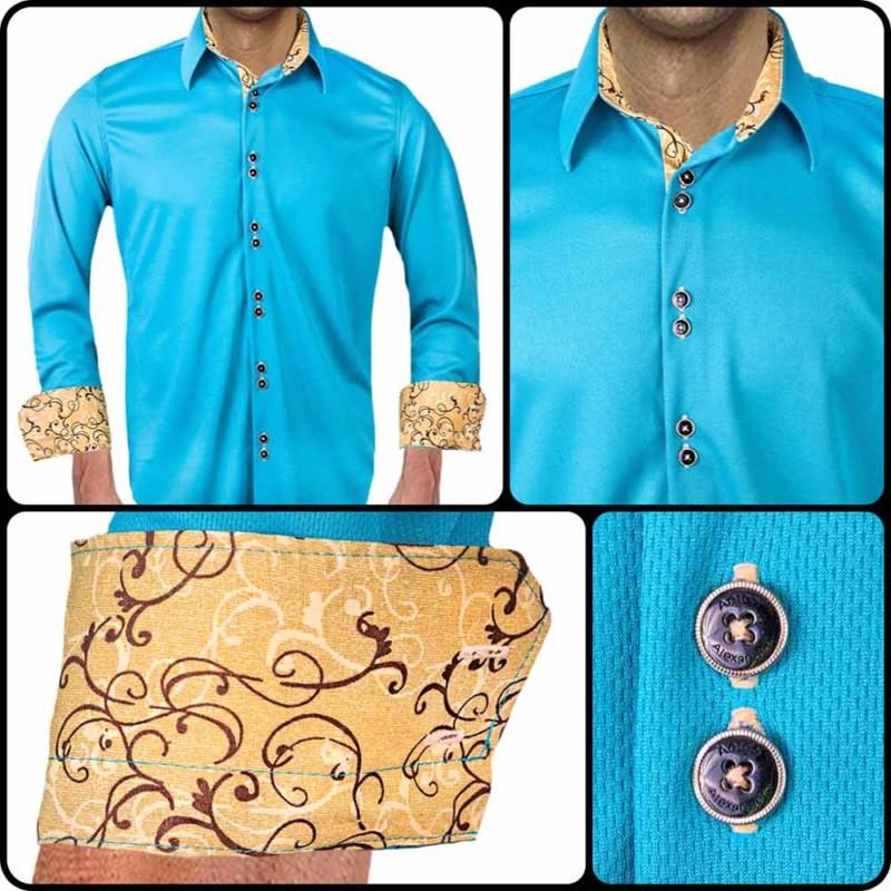 Teal-with-Tan-Dress-Shirts