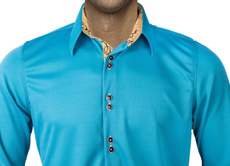 Teal-with-Tan-accent-Dress-Shirts