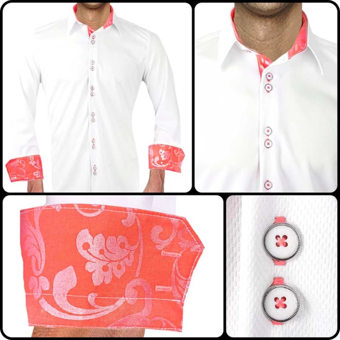 White-and-Coral-Accent-Dress-Shirts