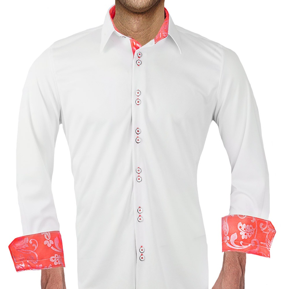 White-and-Coral-Dress-Shirts