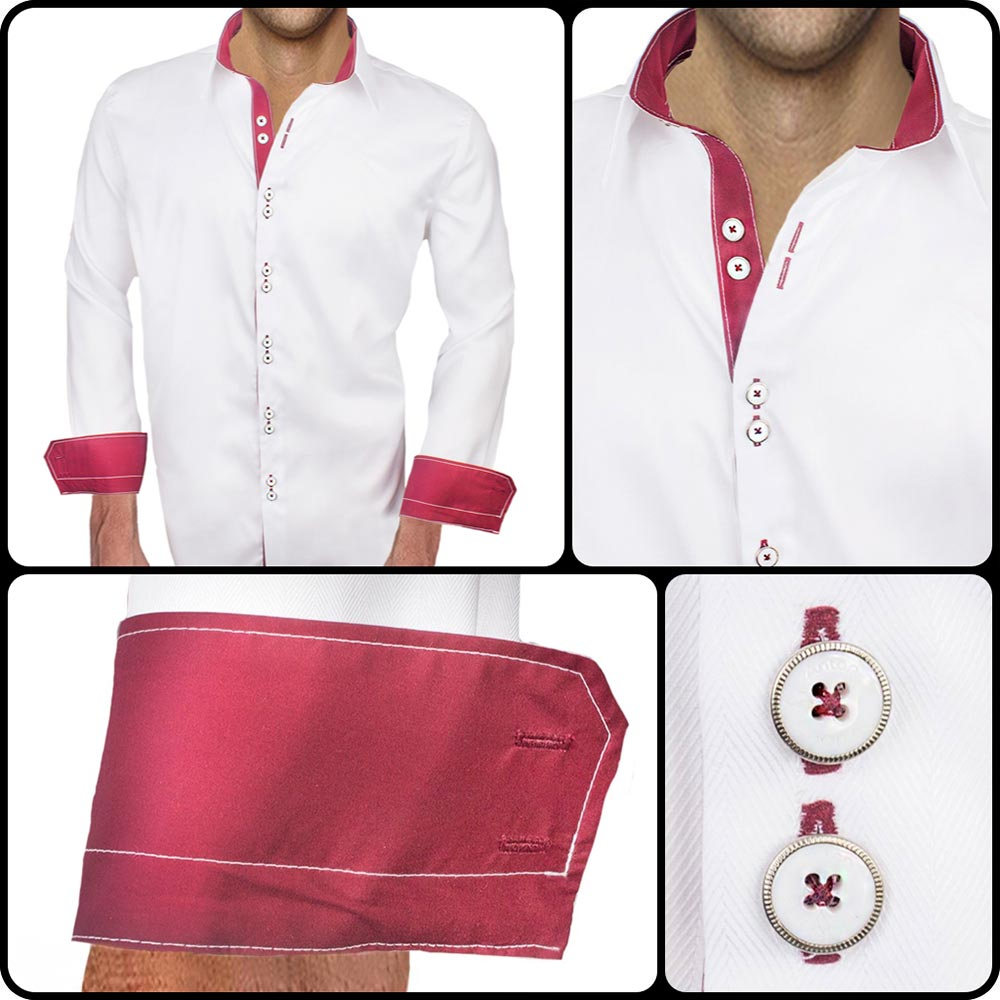 White With Maroon Dress Shirts