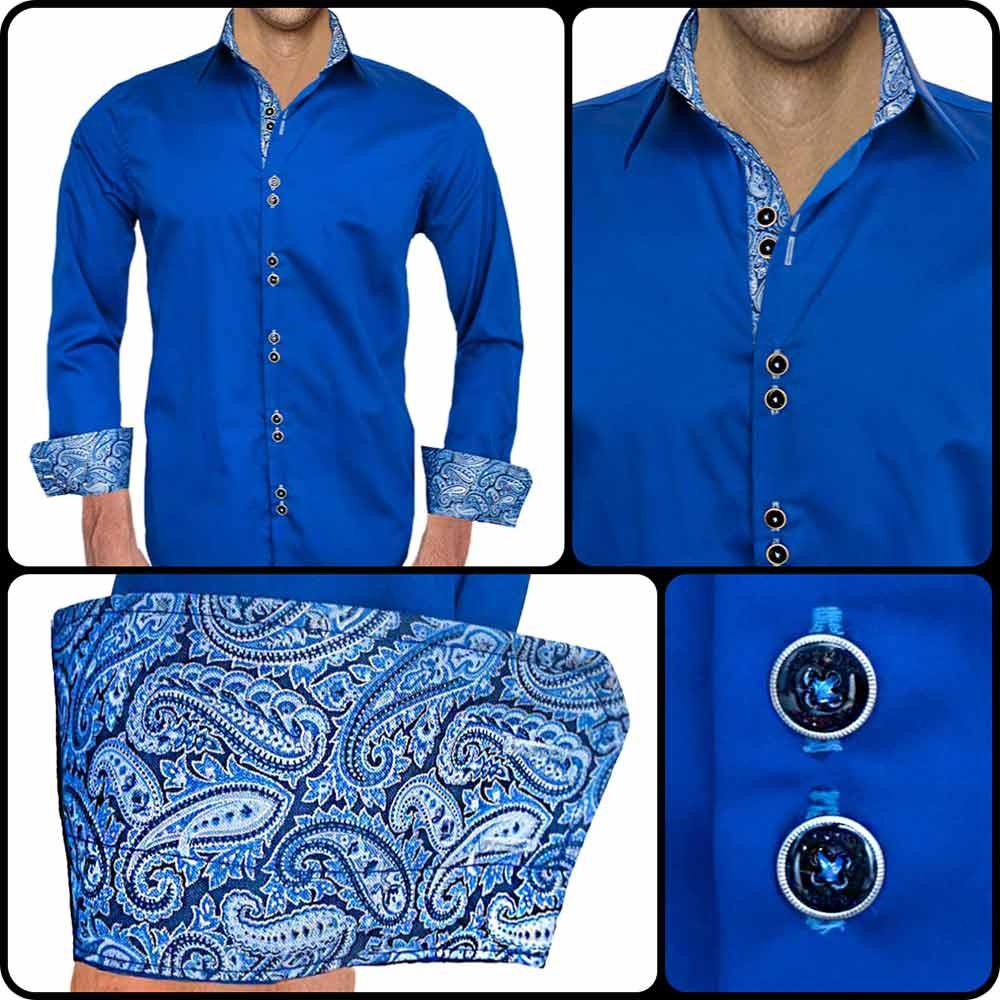 Navy Blue Paisley Dress Shirts