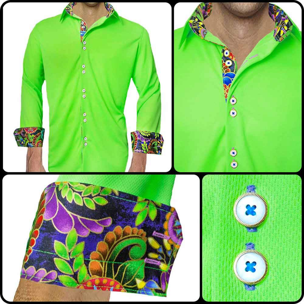 Neon-Green-with-Purple-Casual-Shirts