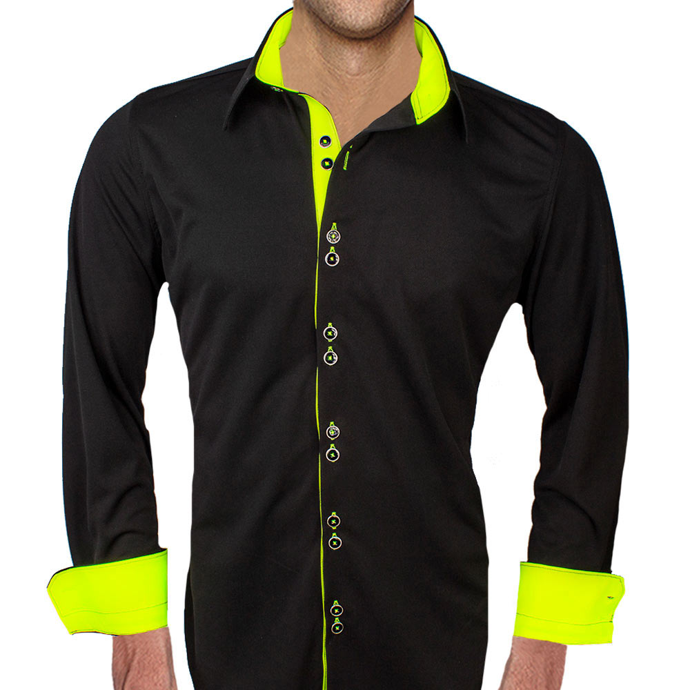 Black-with-Neon-Yellow-Accent-Dress-Shirts