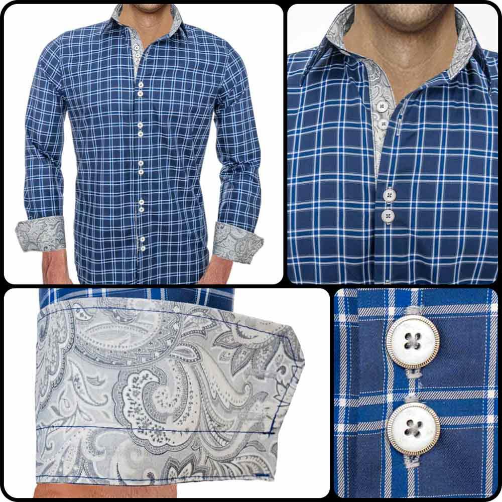 Blue-Plaid-Modern-Dress-Shirts