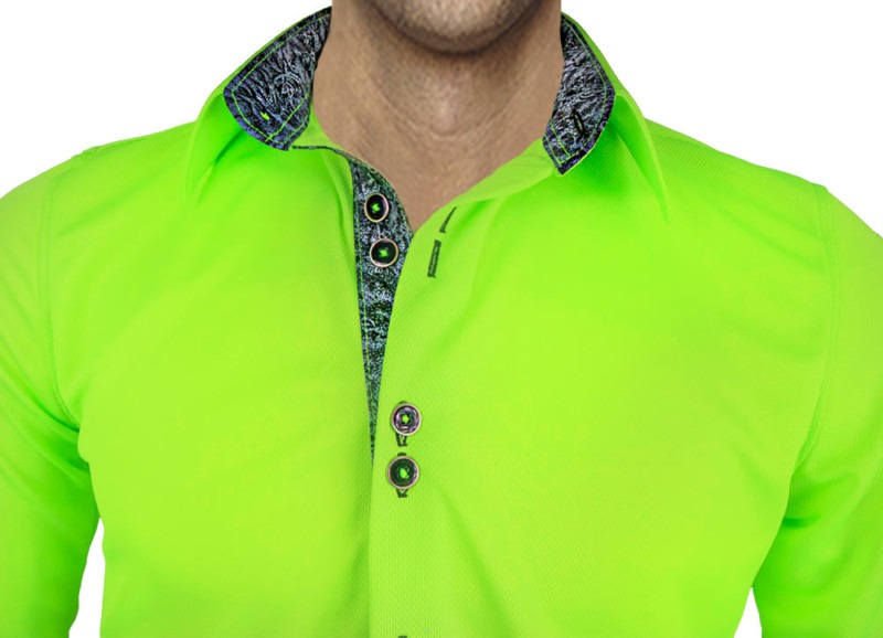 Green-with-Black-accent-dress-shirts