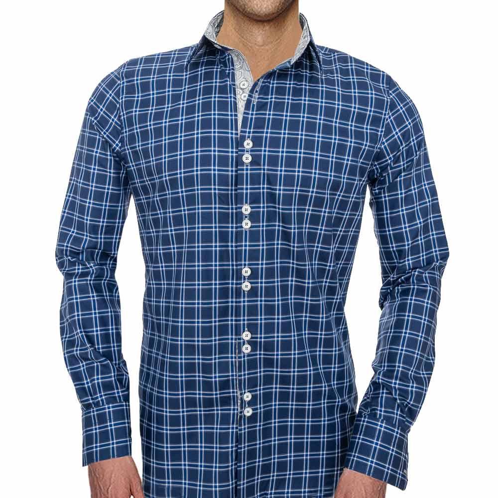 Mens-Dark-Blue-Plaid-Dress-Shirts