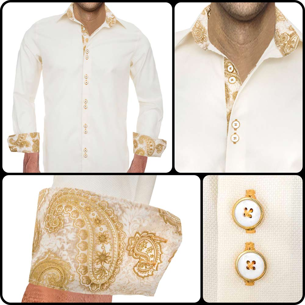 Cream-with-Gold-Dress-Shirts