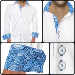 White-with-blue-accent-casual-shirts