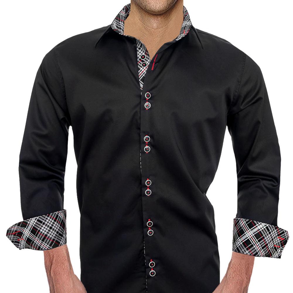 Black-Red-Plaid-Dress-Shirts