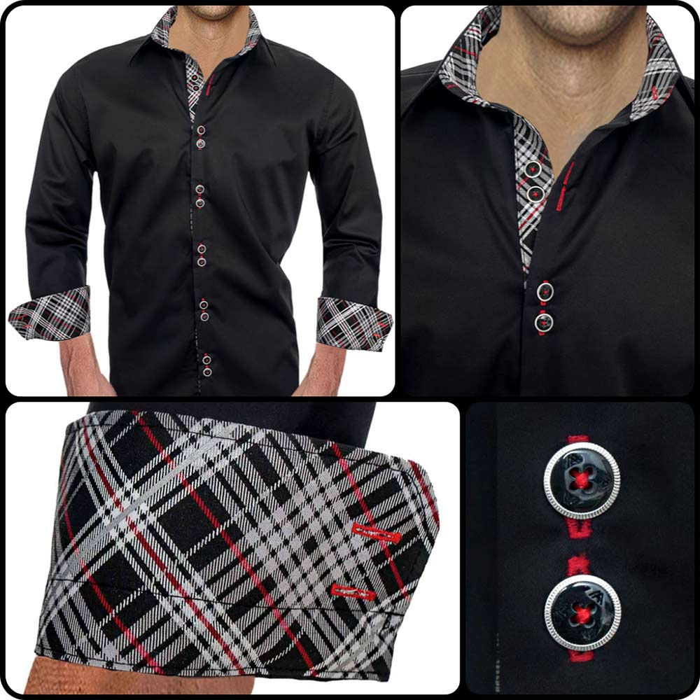 f555cdd7325f Black and Grey Plaid Dress Shirts