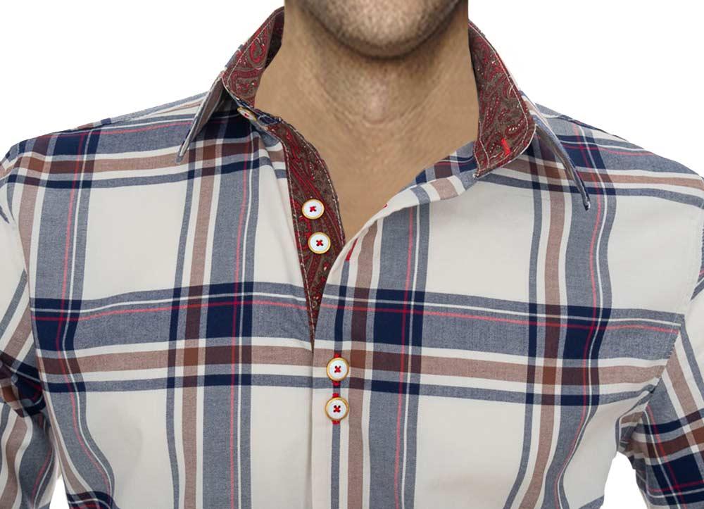 Brown-Blue-Plaid-Dress-Shirts