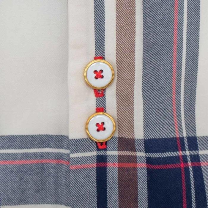 Cream-and-Navy-Plaid-Dress-Shirts