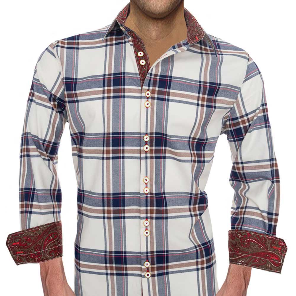 Ivory-Plaid-Dress-Shirts