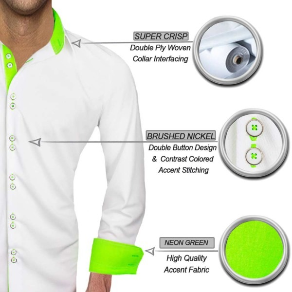 White-with-neon-green-dress-shirts