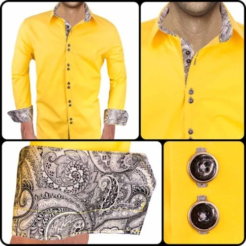 Yellow-Paisley-Dress-Shirts
