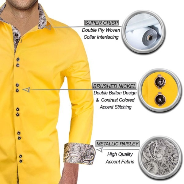 Bright Yellow with Grey Dress Shirts