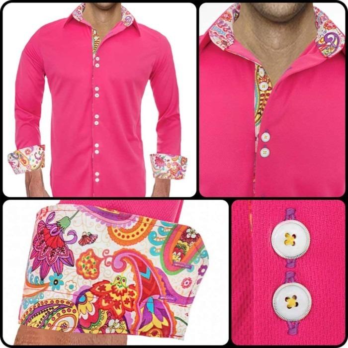 Bright-Pink-Casual-Mens-Shirts
