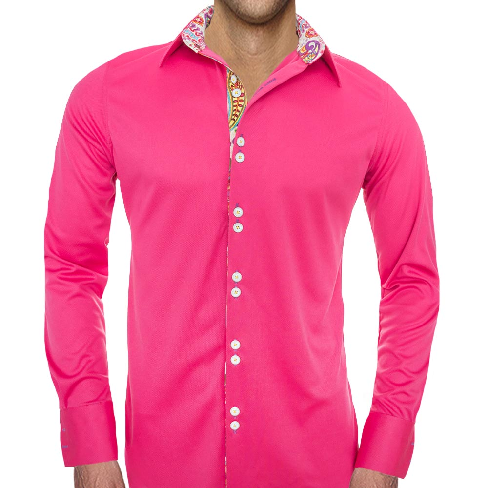 80975a91 Bright Pink Casual Shirts