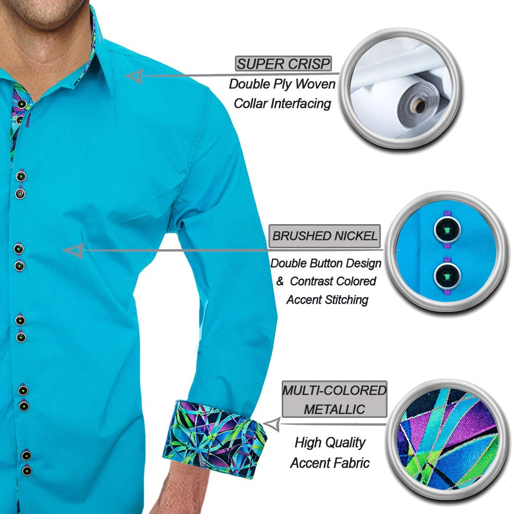 Teal with Purple Dress Shirts