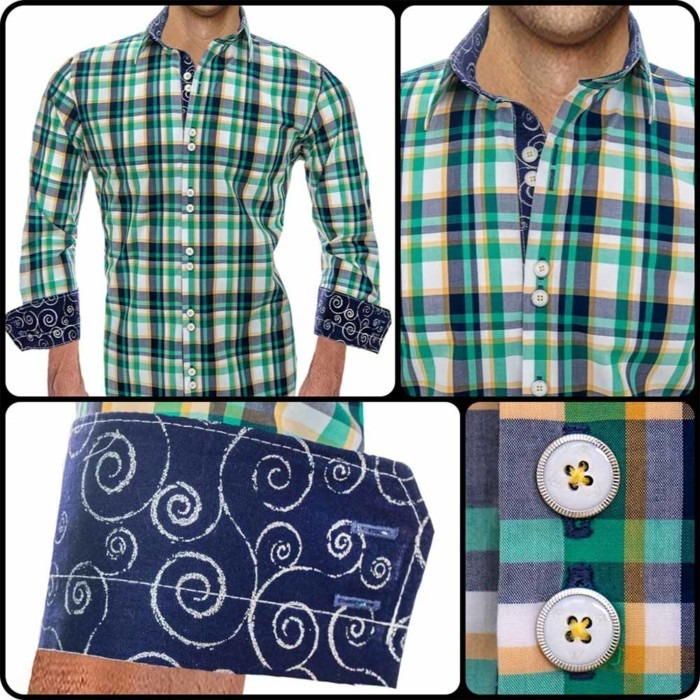 Green-Plaid-Casual-Dress-Shirts