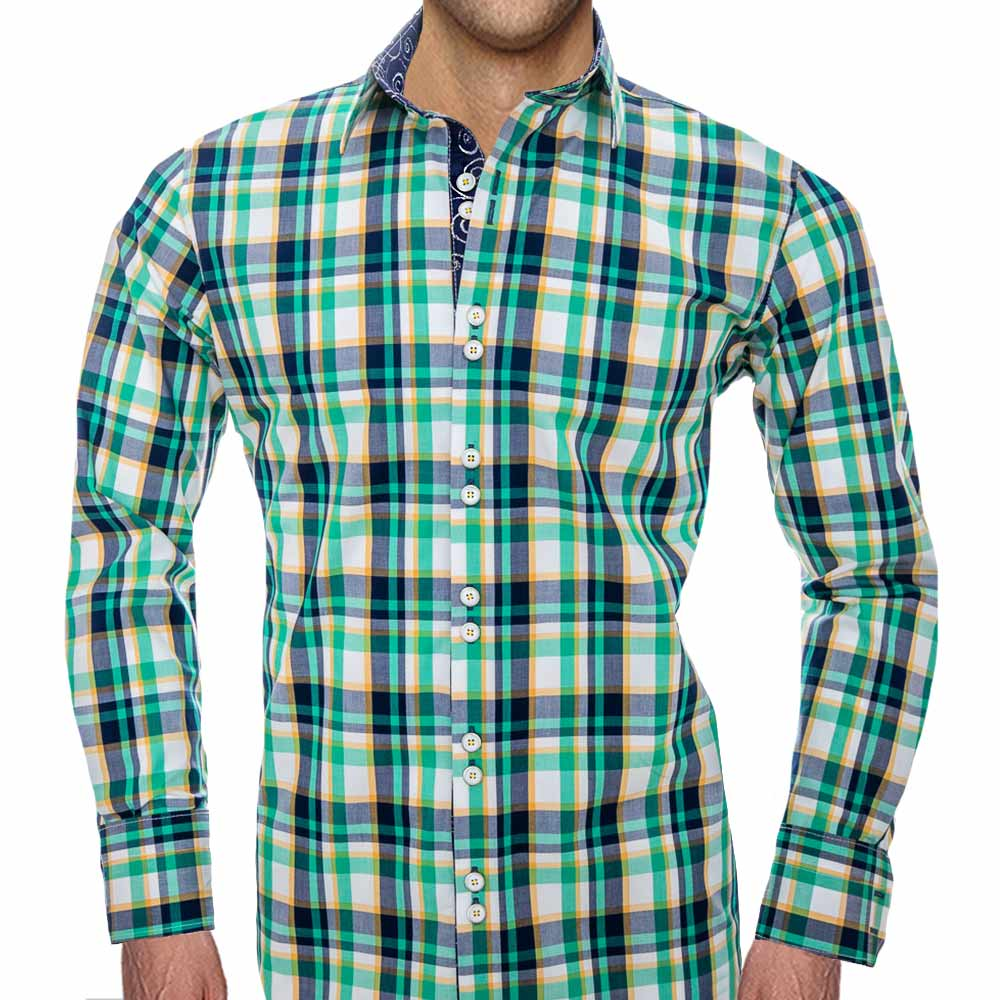 Green-Plaid-Casual-Shirts