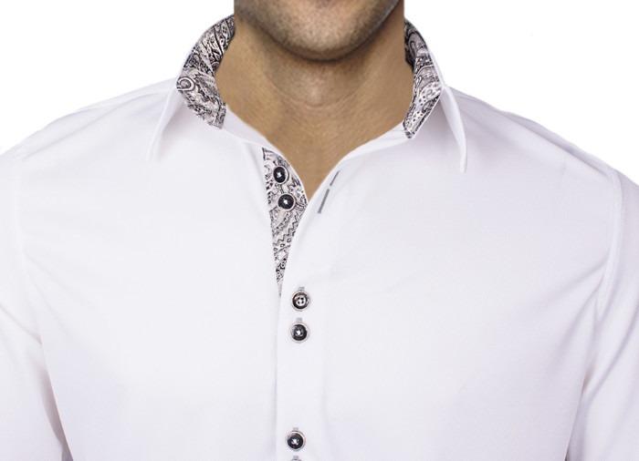 Mens-White-with-Black-Modern-Dress-Shirts