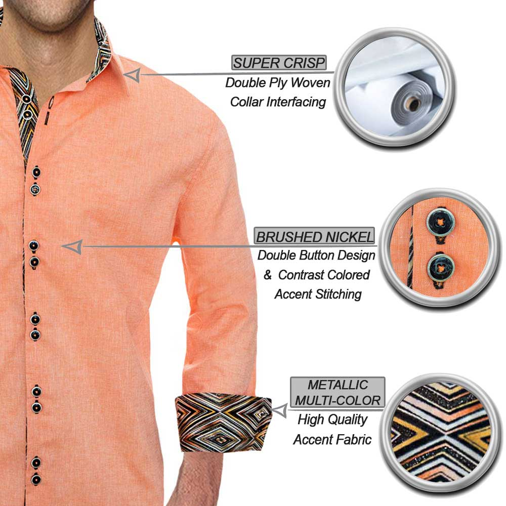 Modern Orange Dress Shirts