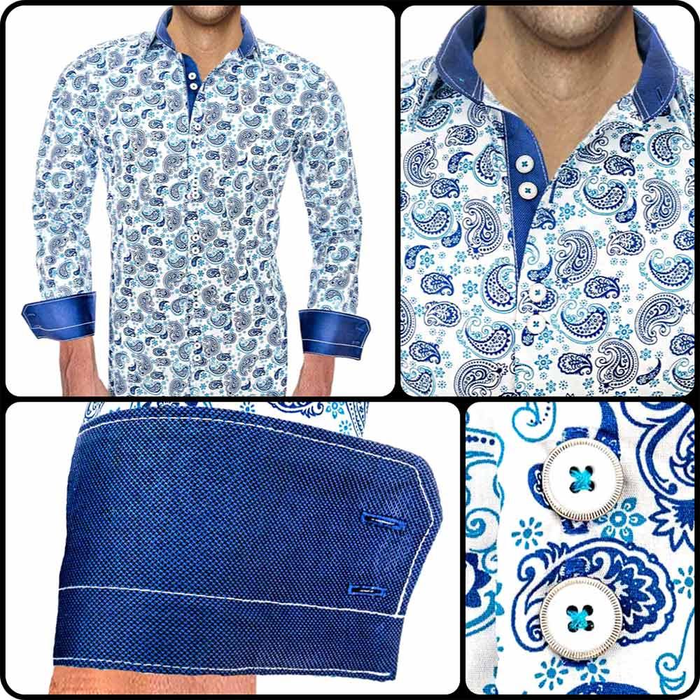 Mens-Blue-Paisley-Shirts