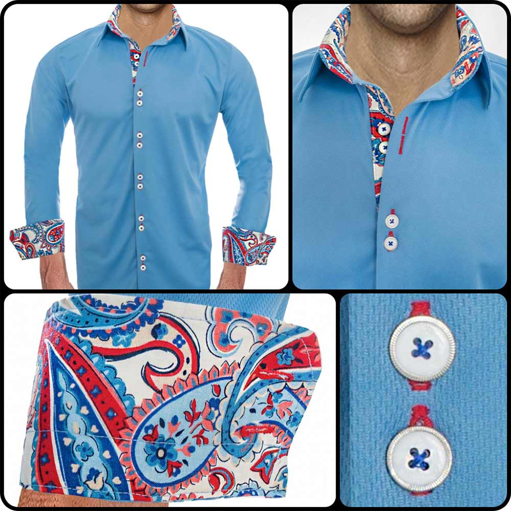 Blue Designer Dress Shirts