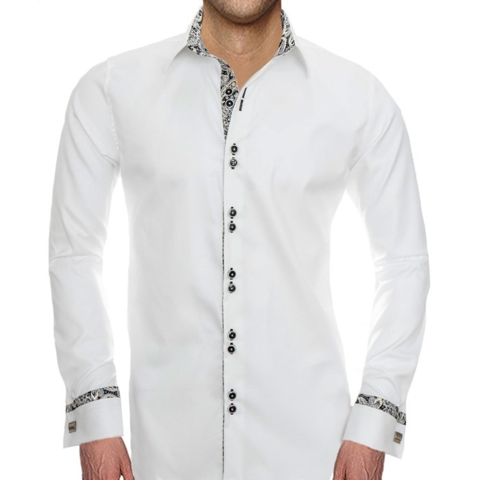 White-and-Black-French-cuff-Dress-Shirts